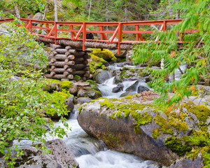 Wall Mural - Red bridge and mountain river on Remote Camp trail at Stein Valley Heritage Park in British Columbia, Canada.
