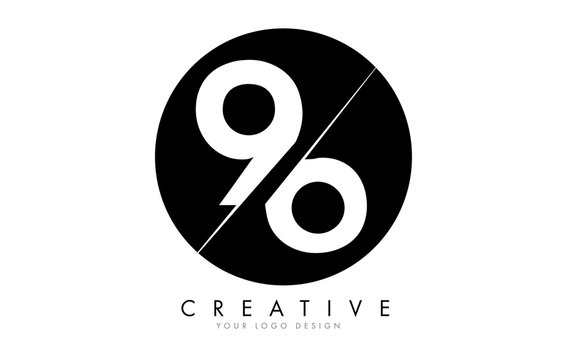96 9 6 Number Logo Design with a Creative Cut and Black Circle Background.