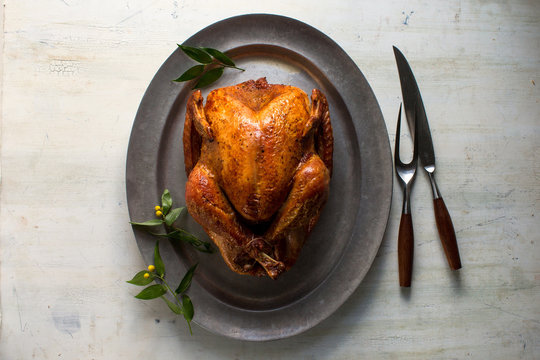 Directly above view of whole roasted turkey