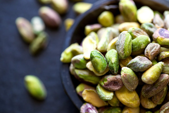 Close up view of pistachios