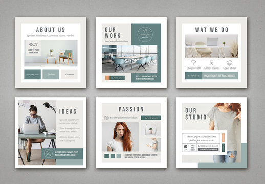 Mint and White Social Media Post Layout with Pale Peach Accents