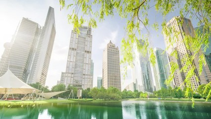Fototapete - hyper lapse park in lujiazui financial centre, Shanghai, China