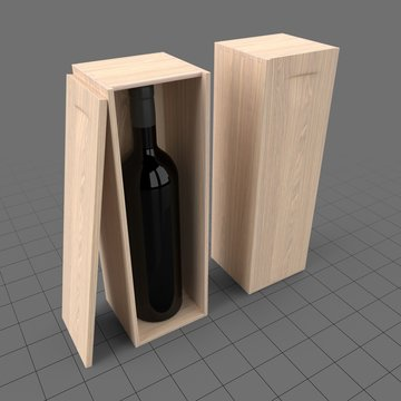 Wine bottle with wooden boxes
