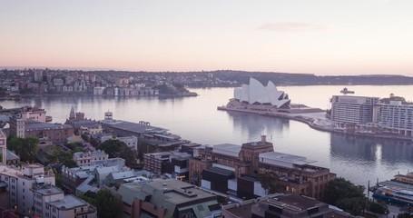 Fotomurales - timelapse sunrise, Aerial view of Sydney, Australia