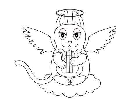 An angel cat with wings and a halo sits on a cloud and plays the harp - a linear picture for coloring. Cute kitty - angel plays the lyre on a cloud - vector character. Outline.