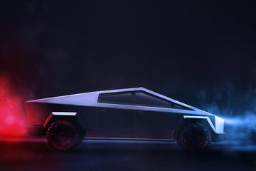 Tesla brand cybertruck pickup car on a dark background with lights.