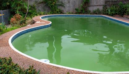 green dirty pool algae water in a suburban backyard