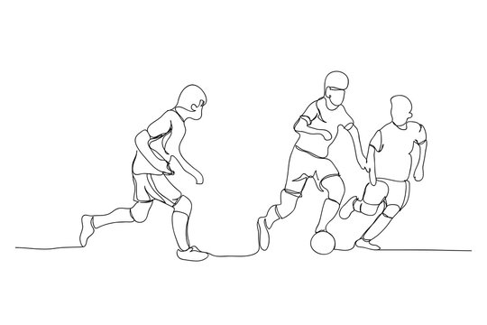 play football, line drawing style,vector design