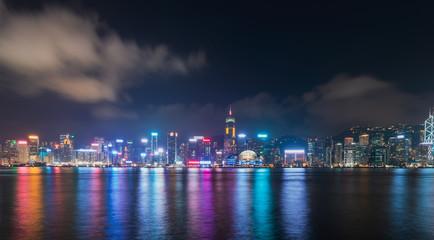 Fotomurales - hong kong harbor at night