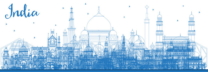 Wall Mural - Outline India City Skyline with Blue Buildings. Delhi. Hyderabad. Kolkata.