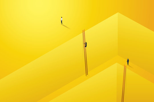 Businessman start climbing stair for successful career achievement in the wall darke yellow, Personal development. illustration Vector