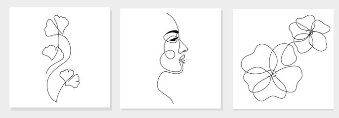 One line drawing abstract woman face, ginkgo biloba leaf, flower. Modern single line art, female portrait, aesthetic contour. Great for poster, wall art, tote bag, t-shirt print, sticker, logo. Vector Fototapete