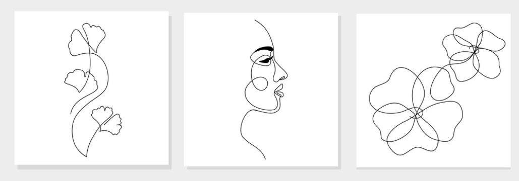One line drawing abstract woman face, ginkgo biloba leaf, flower. Modern single line art, female portrait, aesthetic contour. Great for poster, wall art, tote bag, t-shirt print, sticker, logo. Vector
