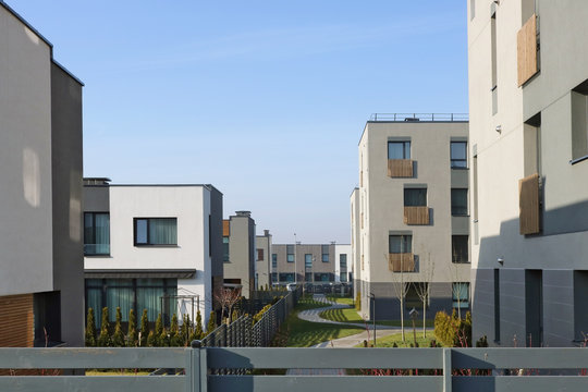 The new modern standard European modular homes  with low cost  apartments for young families  behind the fence