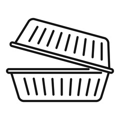 Takeout food container icon. Outline takeout food container vector icon for web design isolated on white background
