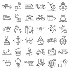 Relocation icons set. Outline set of relocation vector icons for web design isolated on white background