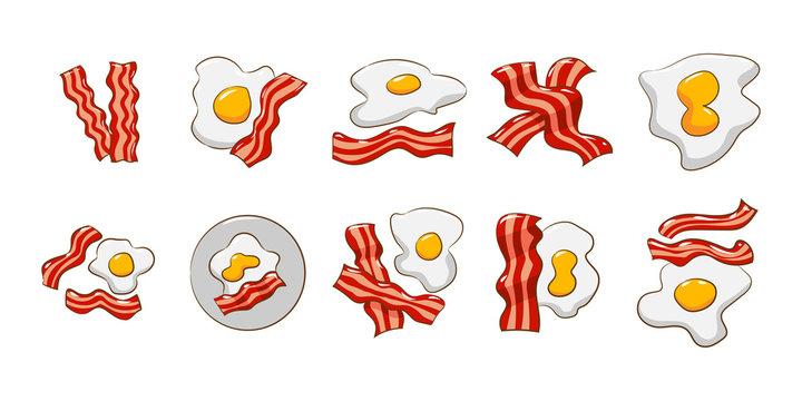 egg bacon vector set collection graphic clipart design
