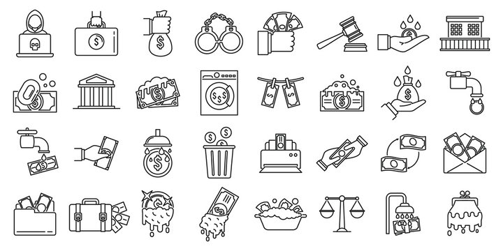 Money laundering offshore icons set. Outline set of money laundering offshore vector icons for web design isolated on white background