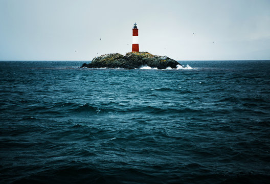 100 year old Les Eclaireurs Lighthouse, located in Tierra del Fuego, Argentina, South America
