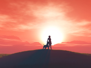 3D female and her dog against a sunset landscape