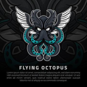 Flying octopus illustration