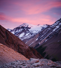 Mountain range at sunrise in Torres Del Paine National Park, Chile, Patagonia, South America