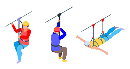 Zip line icons set. Isometric set of zip line vector icons for web design isolated on white background