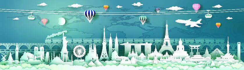 Fototapete - Travel landmarks world with world map background.