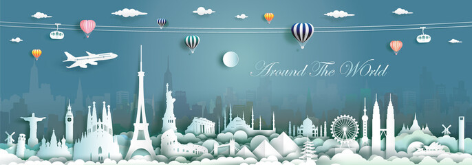 Wall Mural - Travel landmarks world with cityscape background.