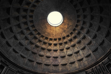 Spoed Fotobehang Oude gebouw the dome of pantheon in rome
