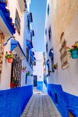 Foto auf Leinwand Schmale Gasse Chefchaouen Medina, Morocco