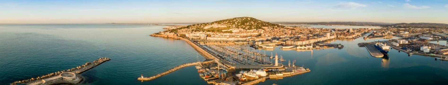 Aerial panorama of the port of Sète in the morning in Hérault in Occitanie, France