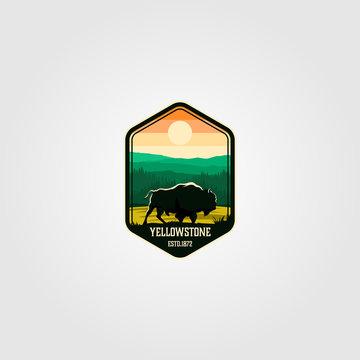 bison on yellowstone national park logo vector illustration
