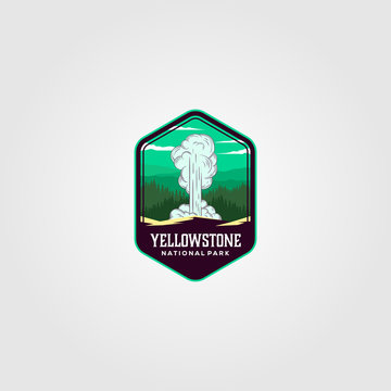 geyser eruption on yellowstone national park logo vector illustration design
