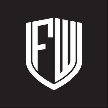 FW Logo monogram with emblem shield design isolated on black background