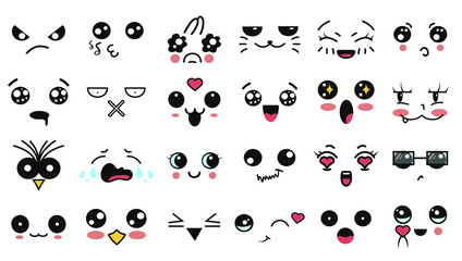 Kawaii cute faces. Funny cartoon japanese emoticon in in different expressions. Expression anime character and emotion. Social network, print, Japanese style emoticons, Mobile, chat. kawaii emotions.