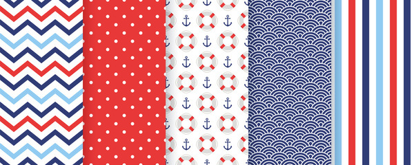 Nautical seamless pattern. Vector. Marine backgrounds with zigzag, anchor, Lifebuoy, stripes, polka dot. Set blue sea summer prints. Geometric texture for baby shower, scrapbooking. Color illustration