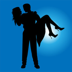 Foto op Plexiglas Dance School Man and women on him hands silhouette on blue background vector illustration