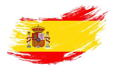 Spanish flag grunge brush background. Vector illustration.