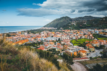 Fototapete - Wonderful view of of the Mediterranean resort town. Location Brolo city, Sicily island, Italy, Europe.
