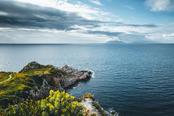 Wall Mural - Fantastic view of calm sea. Location cape Milazzo, Sicily, region of Italy, Europe.