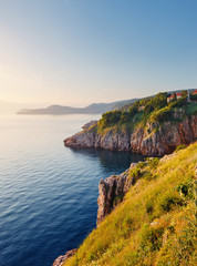 Wall Mural - Perfect morning seascape in the city of Vrbnik. Croatia, Europe.