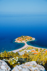 Wall Mural - Aerial view of the small islet Sveti Stefan. Location Montenegro, Adriatic sea, Europe.