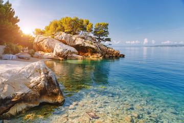 Wall Mural - Morning view of the calm Adriatic Sea. Location Brela resort, Croatia, Europe.