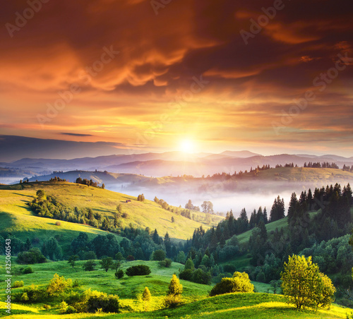 Wall mural Exotic view on countryside in the morning light. Location place Carpathian, Ukraine.