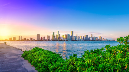 Wall Mural - panoramic view at miami while sunset