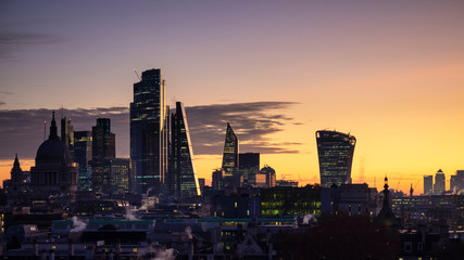 Wall Murals Dark grey Epic dawn sunrise landscape cityscape over London city sykline looking East along River Thames