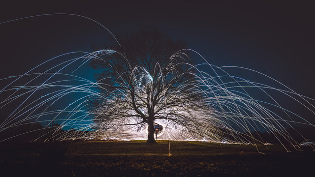 Ring of Fire, Burning steel wool spin near a tree