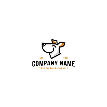 line art dog logo design vector