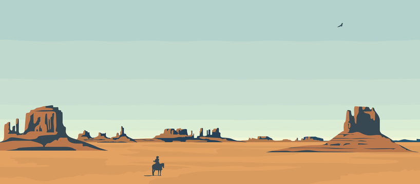 Vector landscape with American prairies and a silhouette of a cowboy on a horse. A lone rider in the desert. Western vintage background. Decorative illustration on the theme of the Wild West.